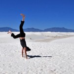 Heels over head at the world's largest gypsum dunefield. #handstand…