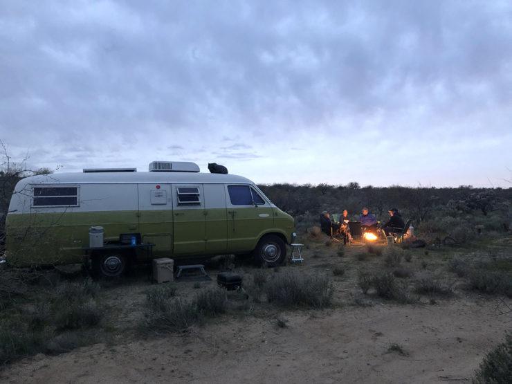 propane campfire and groovy van